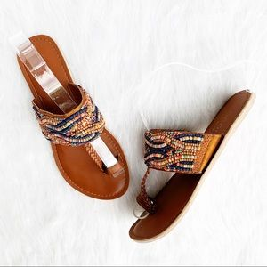 COCONUTS BY MATISSE Boho Beaded Toe Ring Sandals 7